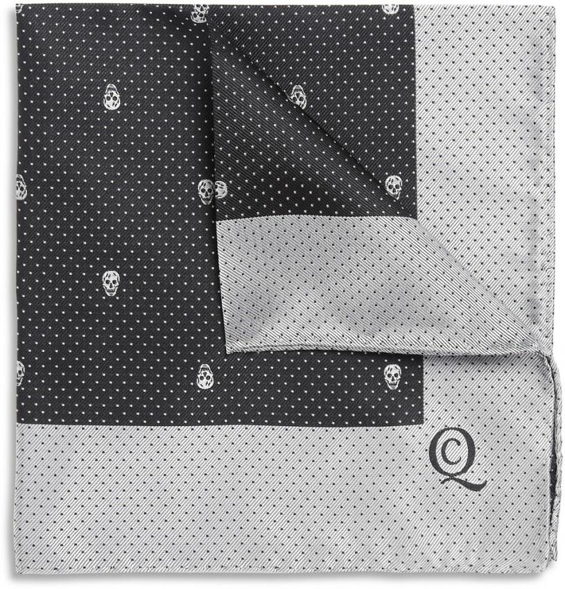 Skull-Patterned Silk Pocket Square